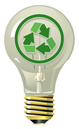Lightning bulb with recycling symbol Ilustração