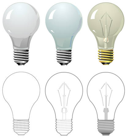 incandescent: Lightning bulb in different styles