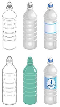 Water bottle in different styles Ilustracja