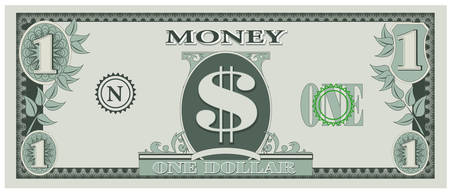 one: Game money - one dollar bill
