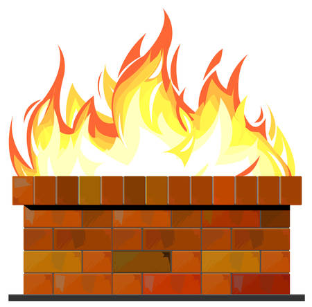 Brick wall on fire Vector