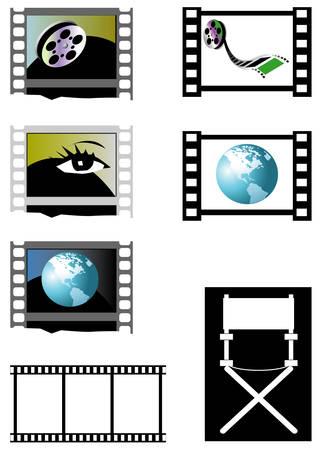 Film frames and directors chair Ilustração