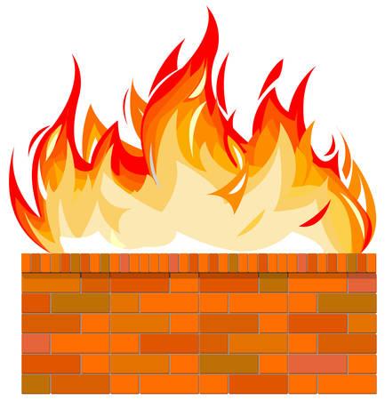 Muro de ladrillo en el fuego