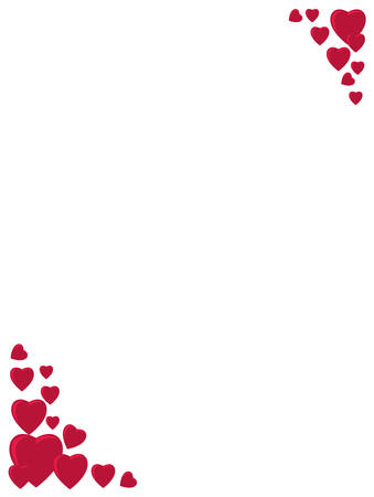 Red hearts corner ornament Illustration