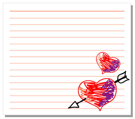 Hand drawn hearts on white note paper