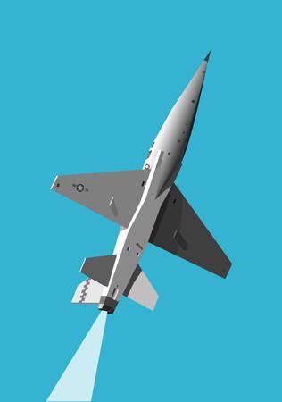 height: Military jet gaining height Illustration