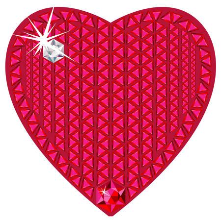 Red heart made from precious stones Ilustração