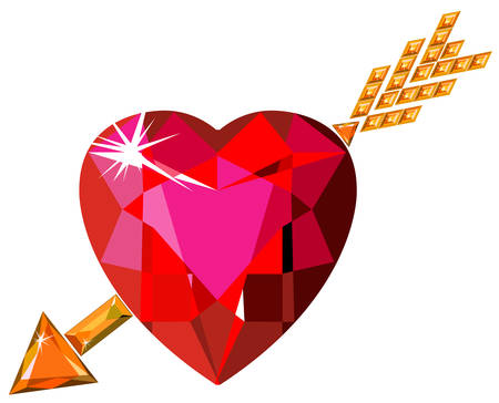 struck: Red ruby heart struck by Cupid arrow