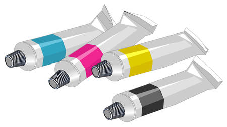 paint container: Four tubes of paint - cyan, magenta, yellow and black Illustration