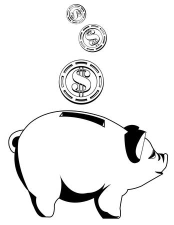 Black and white piggy bank with coins