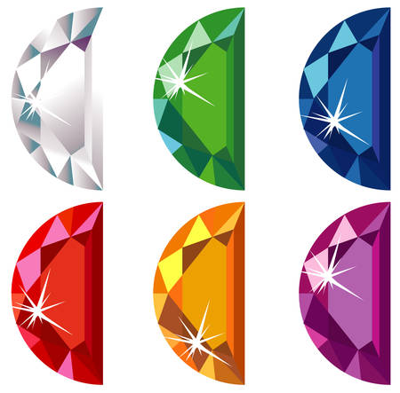 diamond shaped: Half moon cut precious stones with sparkle
