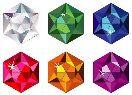 Hexagon cut precious stones with sparkle