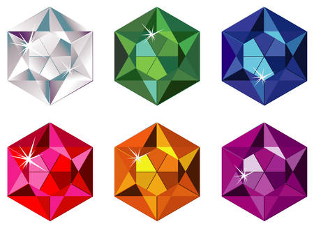 Hexagon cut precious stones with sparkle