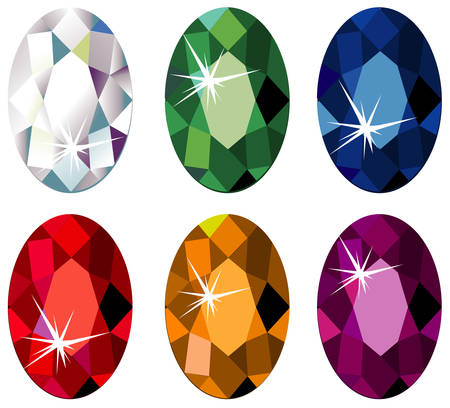 Oval cut precious stones with sparkle Vectores