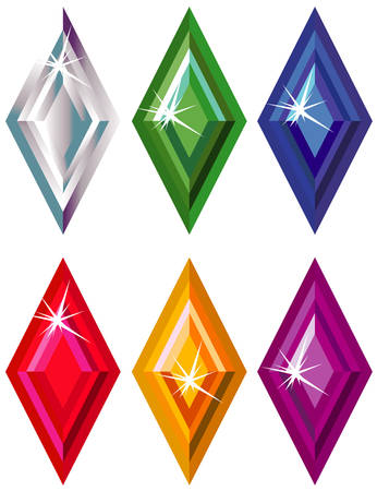 Rhombus or kite cut precious stones with sparkle Stock Vector - 6348518