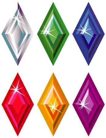 pietre preziose: Rombo o kite taglio pietre preziose con sparkle  Vettoriali