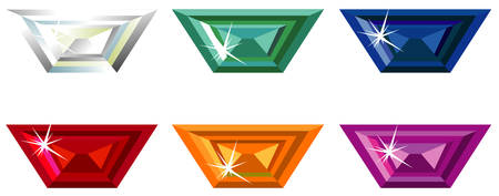Trapeze cut precious stones with sparkle
