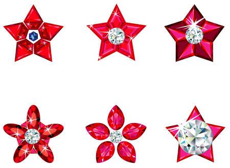 Set of ornament stars Ilustração