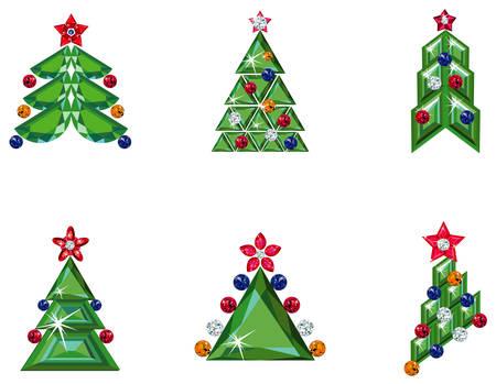Set of  ornament Christmas trees Ilustração