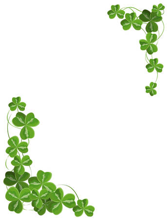 clover leaf shape: Shamrock corner ornament Illustration