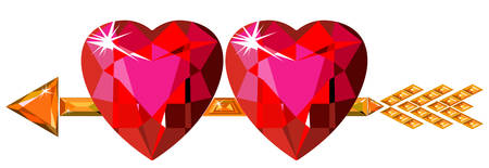 Two red ruby hearts struck by Cupid arrow Vector