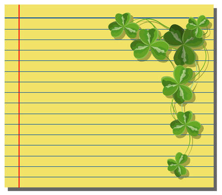 Shamrock on yellow note paper Vector