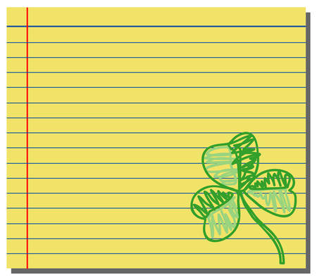 Hand drawn shamrock on yellow note paper Vector