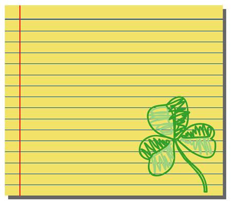 Hand drawn shamrock on yellow note paper Ilustração