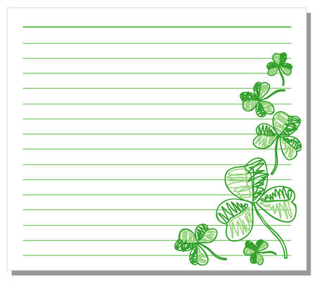 notebook paper: Hand drawn shamrock on white note paper Illustration