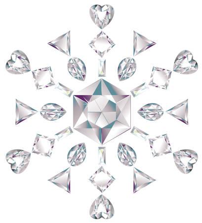 forme: Flocon de neige fabriqué à partir de différents diamants coupe