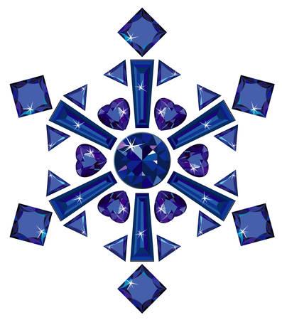 zafiro: Copo de nieve de zafiros cortes diferentes