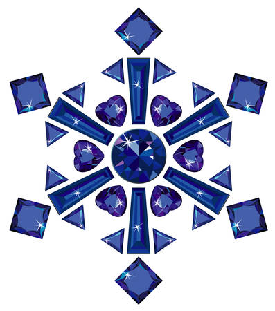 Snowflake made from different cut sapphires
