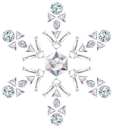 다른 컷 다이아몬드로 만든 눈송이 일러스트