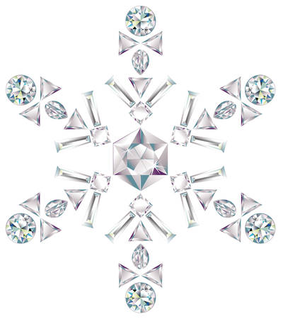 Snowflake made from different cut diamonds Vectores
