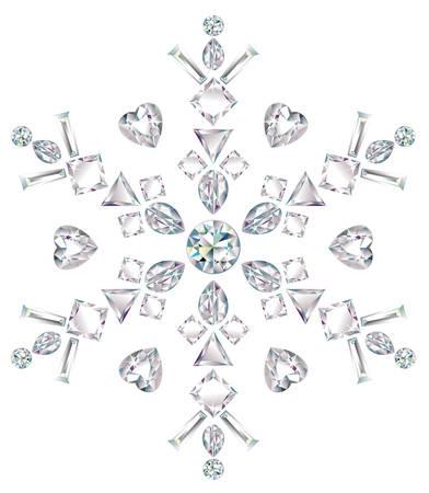 forme: Flocon de neige fabriqué à partir de différents diamants coupes