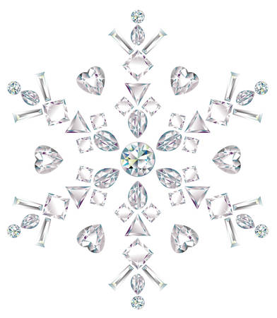Snowflake made from different cut diamonds Illustration