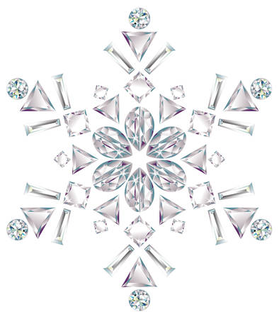 cold cuts: Snowflake made from different cut diamonds Illustration
