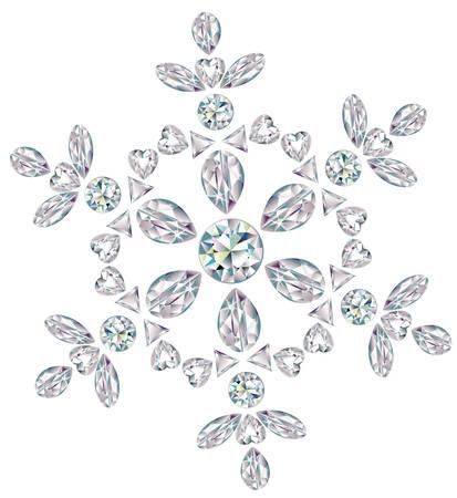 salumi affettati: Fiocco di neve fatto dai diamanti taglio diverso  Vettoriali