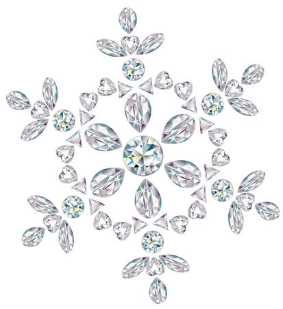 diamond shape: Snowflake made from different cut diamonds Illustration