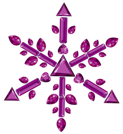 Snowflake made from different cut amethysts