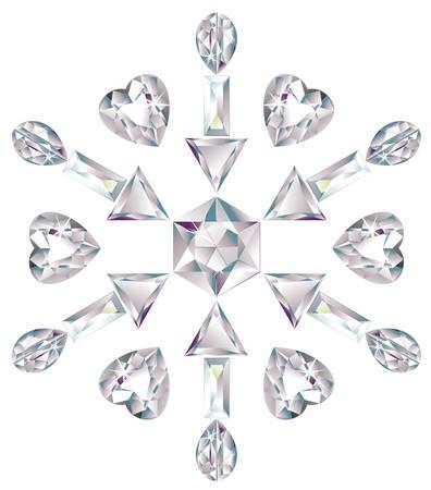 Snowflake made from different cut diamonds Ilustração