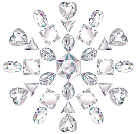pietre preziose: Fiocco di neve fatto dai diamanti taglio diverso  Vettoriali