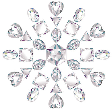 diamond stones: Snowflake made from different cut diamonds Illustration