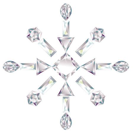 fiambres: Copo de nieve de diamantes de corte diferentes aislados en blanco