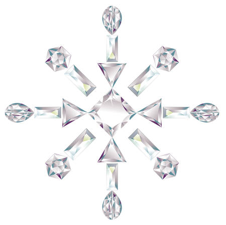 cold cuts: Snowflake made from different cut diamonds isolated on white Illustration