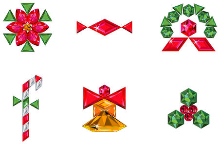 Set of christmas or holiday elements made from precious stones Vector