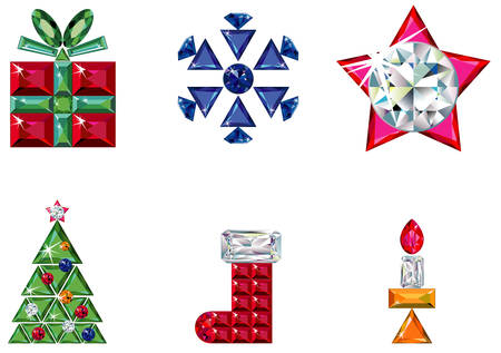 Set of christmas or holiday elements made from precious stones