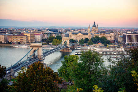 Chain Bridge over the Danube River leading to St Stephens Basilica in Budapest
