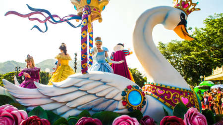 Fantasy Faire Princess On The Swan In Caravan Parade at Disneyland Hong Kong