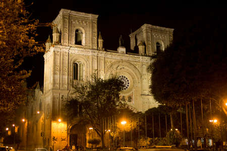 Night view of the Cathedral of the Immaculate Conception, Cuenca Ecuador Фото со стока